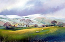 Above Llandrindod Wells, pastel by Jenny Keal